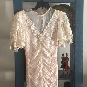 Vintage delicate lace fishtail dress